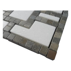 """Sample Lineage White Thassos And Lagos Azul Line 1/4 Sheet Marble Tile - sample-Lineage White Thassos and Lagos Azul Line 1/4 Sheet Marble Tiles Sample You are purchasing a 1/4 sheet sample measuring approximately 6"""" x 6"""". -Glass Tiles -"""