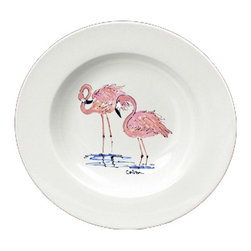 Caroline's Treasures - Flamingo Round Ceramic White Soup Bowl 8077-SBW-825 - Flamingo Round Ceramic White Soup Bowl 8077-SBW-825 Heavy Round Ceramic Soup Bisque Gumbo Bowl 8 3/4 inches. LEAD FREE, microwave and dishwasher safe. The bowl has been refired over 1600 degrees and the artwork will not fade or crack. The Artwork for this gift product and merchandise was created by Sylvia Corban copyright and all rights reserved.