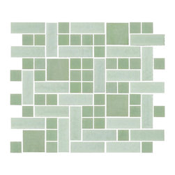 "Susan Jablon Mosaics - Jadeite Green Handmade Glass Tile - This glass tile mosaic blend is made up from 1"", 1"" x 3"", 2"" jadeite green hand made glass mosaic tiles. If your white, light,brown or black toned counter top is busy, this will be the perfect touch for your back splash.This jadeite green opaque glass tile is a light sage green. With it's rustic edges it gives a wonderfully natural, organic feel anywhere it's used and finishes, these tiles complement any design goal from warm rustic, to chic retro, to elegant contemporary. Use these tiles today for your new or remodeled kitchen backsplash, bathroom or any wall in your home or business. It is very easy to install as it comes by the square foot on mesh and it is very easy to clean! About a decade ago, Susan Jablon re-ignited her life-long passion for mosaics and has built a customer-focused, artist-driven, business offering you the very best in glass and decorative tiles and mosaics. We are a glass tile store committed to excellence both personally and professionally. With lines of 100% SCS Qualified recycled tile, 12 colors and 6 shapes of mirror, semi precious turquoise stones from Arizona mines, to color changing dichroic glass. Stainless steel tiles in 8mm and 4mm and 12 designs within each, and anything you can dream of. Please note that the images shown are actual photographs of the tiles however, colors may vary due to the calibration of each individual monitor. Ordering samples of the tiles to verify color is strongly recommended."