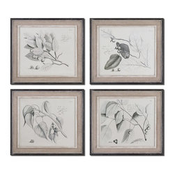 Uttermost - Uttermost Sepia Leaf Study 4 Oil Reproductions in Distressed Black - 4 Oil Reproductions in Distressed Black belongs to Sepia Leaf Study Collection by Uttermost These oil reproductions feature a hand applied brushstroke finish. Artwork is accented by light tan burlap mats and heavily distressed black frames with a gray and taupe wash. The inner lip and liner of each frame has a medium wood tone base with a heavil Wall Panel (4)