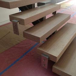 Light Grey Stone Hardwood Stairs - Staircase made by ADM out of Light Grey Stone Hardwood. Light Grey Stone Hardwood Flooring -