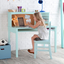 Guidecraft - Guidecraft Media Desk & Chair Set - Teal - ID742 - Shop for Childrens Desks from Hayneedle.com! Give your child the perfect place to play study and create! The Guidecraft Media Desk & Chair Set - Teal is a beautiful well-made set that they're sure to adore. Easy to clean and super convenient this set is crafted of solid wood with a teal laminate finish. It has five cubbies for storing books art paper notebooks and more and also has a corkboard where they can pin important notes and pictures. Stylish and functional this desk will be a favorite for years to come. Recommended for kids ages three to 10 years. Makes a great gift too! About GuidecraftGuidecraft was founded in 1964 in a small woodshop producing 10 items. Today Guidecraft's line includes over 160 educational toys and furnishings. The company's size has changed but their mission remains the same: stay true to the tradition of smart beautifully crafted wood products which allow children's minds and imaginations room to truly wonder and grow. Guidecraft plans to continue far into the future with what they do best while always giving their loyal customers what they have come to expect: expert quality excellent service and an ever-growing collection of creativity-inspiring products for children.