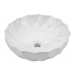 The Renovators Supply - Vessel Sinks White Cake Dish Vessel Sink No Overflow | 13230 - Vessel Sinks Above Counter No Overflow: Made of Grade A vitreous China these sinks endure daily wear and tear. Our protective RENO-GLOSS finish resists common household stains and makes it an EASY CLEAN wipe-off surface. Ergonomic and elegant easy reach design reduces daily strain placed on your body. SPACE-SAVING design maximizes limited bathroom space. Easy, above counter installation let's you select from many faucet styles and countertop designs, sold separately. Measures 18 inch diameter