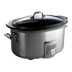 """All-Clad - 6.5 Quart Slow Cooker with Ceramic Insert - With a 26-hour programmable timer and quality construction, the Ceramic Slow Cooker lets you prepare home-cooked meals on any schedule. This 6.5-quart capacity slow cooker features a sturdy polished stainless steel body with a removable black ceramic insert and glass lid. Warm, low, and high temperature settings offer flexible cooking times. And with a dishwasher-safe insert and lid, this slow cooker is easy to clean and maintain. Features: -Electrics collection. -Durable stainless steel body and ceramic insert. -6.5-Quart capacity for soups and stews. -26-Hour programmable timer. -Versatile warm, low, and high temperature settings. -Tempered glass lid and insert are dishwasher safe. -Slow cooker with removable ceramic insert and glass lid, instruction manual, and warranty information. Dimensions: -11.38"""" H x 14"""" W x 19.88"""" D, 18 lbs."""
