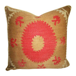 "Metrohouse Designs - ""Consigned"" Vintage Suzani Bolinpush Accent Pillow 1B - Outstanding Vintage Bolinpush Suzani Pillow"