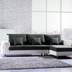 American Eagle Gray Fabric White Leather Sectional Sofa Chaise Modern -