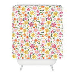 DENY Designs - Jennifer Denty Genevieve Florals Pink Big Shower Curtain - Who says bathrooms can't be fun? To get the most bang for your buck, start with an artistic, inventive shower curtain. We've got endless options that will really make your bathroom pop. Heck, your guests may start spending a little extra time in there because of it!