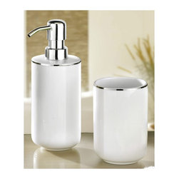 White Porcelain Bath and Spa Accessories Set - 2 pieces - Luxurious white porcelain bathroom accessories with silver accent countertop accessories.  2 piece set (tumbler and liquid soap / lotion dispenser) .  Flawless silver accent.  Substantial weight you can feel the quality of both pieces.  Chrome finish pump on dispenser. Designed and produced in Germany. Tumbler (W) 2.9in x (H) 4.5in ; Dispenser (W) 2.75in x (H) 7.6in - Holds 13.5oz of soap or lotion.