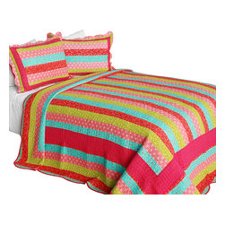 Blancho Bedding - Heartbeats Cotton 3PC Vermicelli-Quilted Striped Printed Quilt Set Full/Queen - Set includes a quilt and two quilted shams (one in twin set). Shell and fill are 100% cotton. For convenience, all bedding components are machine washable on cold in the gentle cycle and can be dried on low heat and will last you years. Intricate vermicelli quilting provides a rich surface texture. This vermicelli-quilted quilt set will refresh your bedroom decor instantly, create a cozy and inviting atmosphere and is sure to transform the look of your bedroom or guest room. Dimensions: Full/Queen quilt: 90 inches x 98 inches  Standard sham: 20 inches x 26 inches.