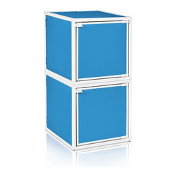 Way Basics - BOX (2 cubes), Blue - Box will easily stack, connect and align to create your perfect organizer! Form a 2-tiered nightstand or a side by side double cubby and accessorize with a door to hide that inevitable clutter. The simple, modern design of the Bo will complement and adorn any room.