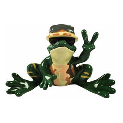 WL - Soldier Frog with Army Hat and Sunglasses Holding Up Peace Sign Statue - This gorgeous Soldier Frog with Army Hat and Sunglasses Holding Up Peace Sign Statue has the finest details and highest quality you will find anywhere! Soldier Frog with Army Hat and Sunglasses Holding Up Peace Sign Statue is truly remarkable.