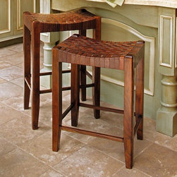 Woven Leather Stools - Wood stools look great, the only problem is if you have to sit in them for an extended period. I like these leather seats instead to provide a little more give than a plain wood top.