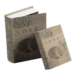 Sterling Industries - Love Keepsake Books, Set of 2 - This Sterling English garden unique decorative accessory features love keepsake books display. This wooden and linen crafted classically stylish love keepsake books adds finishing touch to your room. It is best gift for friends and loved one. It brings creativity and imagination with touch of elegance. Available in cream linen finish. It's 6 3/4 inch long, 9 inch wide and 2 inch high.
