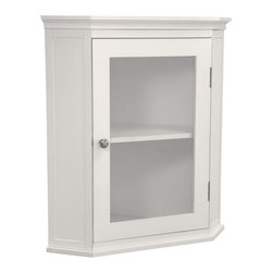 None - Classique White Corner Wall Cabinet - This attractive corner wall cabinet is as beautiful as it is functional. Store your toiletries and towels in this pretty white cabinet so they are at hand when you need them. The glass insert in the door allows you to quickly see what is within.
