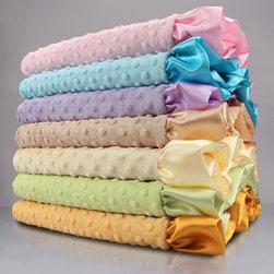 My Blankee Baby Blankets - Velour Dot Baby Blanket with Satin Ruffle - Velour Dot Baby Blanket with Satin Ruffle