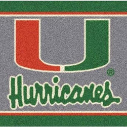 Milliken & Company - University of Miami Rectangular: 5 Ft. 4 In. x 7 Ft. 8 In. Rug - -Incorporates AlphaSan Antimicrobial   Milliken & Company - P533315-C74386-S201