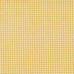 """Close to Custom Linens - 72"""" Shower Curtain, Unlined, Gingham Check Yellow - A small gingham check in yellow on a cream background. Reinforced button holes for 12 curtain rings."""