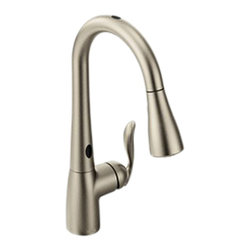 "Moen - Moen 7594ESRS Arbor Pull-Down Kitchen Faucet w/Motion Sense (Stainless Steel) - Who doesn't need an extra hand in the kitchen? This pull-down faucet offers just that, with Moen's MotionSense technology that allows you to use your faucet with simple hand gestures when you don't have a hand to turn it on. The pull-down spout head features a Reflex system that gives you smooth operation, easy movement, and secure docking when it's not in use. The faucet comes with a 68"" braided hose, valve flexible supply lines with 3/8"" compression fittings, and a lever style handle for precise volume and temperature control. This faucet comes with an optional escutcheon for 3-hole mounting, and a 1255 Duralast cartridge. This model is ADA compliant, and comes in a Spot-Resistant Stainless Steel finish."