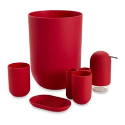 """Umbra Llc - Umbra Touch Bath Waste Basket in Raspberry - The Touch Bath Ensemble exhibits a smooth, simple design with a """"soft touch"""" coating and a pop of color. Its contemporary look will add appeal and style to your bathroom."""