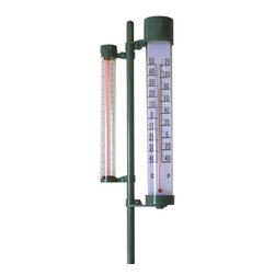 """Pier Surplus - Outdoor Rain Gauge and Thermometer Combo #SO30347 - Measure two weather elements at once! With a slick acrylic thermometer and rain gauge in one, kids learn to connect important weather principles to their growing garden. Features a dual-scale (ºF or ºC) weatherproof thermometer, rain gauge that measures up to 8"""" of rainfall (in or mm). Unit stands 4 ft. tall; sets easily into the ground or collapses for storage."""