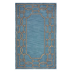 nuLOOM - Contemporary 5' x 8' Blue Hand Tufted Area Rug Bordered GR10 - Made from the finest materials in the world and with the uttermost care, our rugs are a great addition to your home.