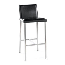 Tag Furniture Group - Dylan Bonded Leather Upholstered Barstool in - Barstool feature leather seat and back. Horizontal stabilizers in stainless added for support. Wipe with damp cloth to clean. Legs are made from sturdy stainless steel. Made from leather. No assembly required. Seat Height: 30 in.. Overall: 16 in. W x 17 in. D x 39.5 in. H (18 lbs.)Sleek and sturdy is how best to describe our 30 in. Dylan barstool. This barstool combines the beauty of leather with the strength of stainless steel that adds style to any room. This well-designed barstool has horizontal stablizer bars for extra support.