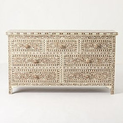 Anthropologie - Ivory Etched Dresser - *Seven drawers