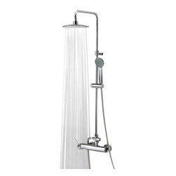 Ramon Soler - Wall Mounted Shower Column with Hand Shower Set and Rainhead - Manufactured in and imported from Spain by Ramon Soler, this luxury shower column perfectly compliments contemporary bathrooms.