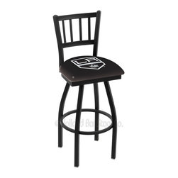Holland Bar Stool - Holland Bar Stool L018 - Black Wrinkle Los Angeles Kings Swivel Bar Stool - L018 - Black Wrinkle Los Angeles Kings Swivel Bar Stool w/ Jailhouse Style Back belongs to NHL Collection by Holland Bar Stool Made for the ultimate sports fan, impress your buddies with this knockout from Holland Bar Stool. This contemporary L018 Los Angeles Kings stool carries a defined Jailhouse back that doesn't just add comfort, but sophistication. Holland Bar Stool uses a detailed screen print process that applies specially formulated epoxy-vinyl ink in numerous stages to produce a sharp, crisp, clear image of your desired logo. You can't find a higher quality logo stool on the market. The plating grade steel used to build the frame is commercial quality, so it will withstand the abuse of the rowdiest of friends for years to come. The structure is powder-coated black wrinkle to ensure a rich, sleek, long lasting finish. Construction of this framework is built tough, utilizing solid welds. If you're going to finish your bar or game room, do it right- with a Holland Bar Stool. Barstool (1)