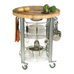Chris & Chris - Chris & Chris Stadium 30-inch Round Kitchen Work Station - Add extra space for your culinary adventures with this round, kitchen work station. This Chris & Chris Stadium work station is 30-inches in diameter. It features a two-inch thick solid end grain hardwood surface and two stationary shelves for storage.