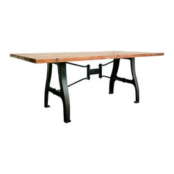 """Nuevo Living - V4 A Leg Large Dining Table with Reclaimed Wood Top by Nuevo - HGDA108 - The large V4 Dining Table uses reclaimed hardwood and a reclaimed cast iron base to create a truly stunning modern dining table. The V4 dining table will add a very industrial modern look for your dining room or general table needs. Reclaimed wood is not only ecologically friendly but also a great new look for your home or business. The reclaimed wood is a bolted 1.5"""" reclaimed hardwood. This is a solid wood product with no MDF or any other wood type used. The table height is 29.5"""" and the large width version is 94.5"""". The V4 Modern Table is also available in a smaller width of 78.75"""". Overall, the V4 Modern Dining Room Table is a unique piece of modern furniture and industrial contemporary styling at its finest."""