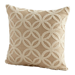 Cyan Design - Cyan Design Circle Of Life Pillow X-70560 - Taupe and rich cream colors compliment one another beautifully on the face of this Cyan Design pillow. From the Circle of Life Collection, this decorative pillow features an overlapping pattern with rows of circles that also create diamond accents.