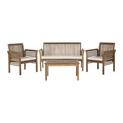 Safavieh - Safavieh Carson Teak Finish Brown Acacia Wood 4-piece Outdoor Furniture Set - Clean and contemporary,the Carson 4-piece outdoor set recalls the simplicity of Danish furniture design.