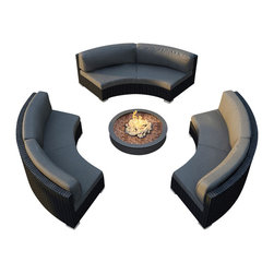 Harmonia Living - Urbana Eclipse 3 Piece Round Sectional Set, Charcoal Cushions - Is your outdoor fire pit just begging for the perfect surrounding seats? This cushy, durable wicker sectional with Sunbrella® cushions will make your patio the most popular one in town. Also looks great around a circular table.