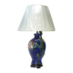 Golden Lotus - Chinese Navy Blue Flower Porcelain Vase Base Table Lamp - This is an oriental table lamp with hand made porcelain relief flower pattern vase shape base