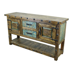 Old World Console Table with Iron Accents - This Old World Console Table with Iron Accents, shelf, drawers and doors is constructed of solid wood from Mexico. No veneers are used, only solid planks of wood with a polyurethane type finish topped with a soft hand-rubbed wax. This finish makes this piece a perfect accent to any Spanish Colonial, Hacienda Style or Tuscan decor.  Notice the hand forged iron accents. Beautiful! Perfect as an Old World TV Stand as well. Please note that long wait times could be possible if this item is not in stock at the time of order.