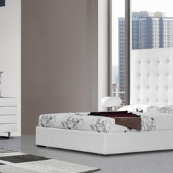 Unique Leather High End Bedroom Furniture - Upholstered in white bonded leather bedroom with tall headboard. Elite, contented and stylish Tall Headboard Bed. The white finish of the bed makes the vibes burnish.