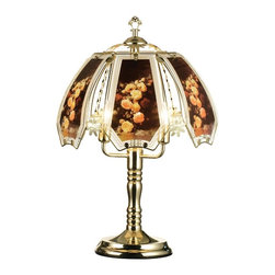 ORE International - Touch Lamp w Gold Base - Three way reliable touch sensor control. Requires three 25 watt bulbs. Low, medium, high and off paces. Polarized plug for added safety. Tinted glass shade. Brushed gold base. 30 days warranty. 14. 5 in. Dia. x 23.5 in. H (5 lbs.)Add a touch of light to your living spaces with this 3-way touch lamp. Adjust the light you need with just a touch of your hand. No more trying to find the switch in a dark room, this lamp is always ready for your touch. Simply touch any metal surface and you will put this lamp through its paces. Use a single level light bulb, no need to use a 3-way bulb.