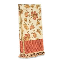 "Canaan - Artemis Bronze Floral Pattern Print Throw Blanket - Artemis bronze floral pattern print throw blanket with soft liner and Tassel fringe trim. Measures 46"" x 68"". These are custom made in the U.S.A and take 4-6 weeks lead time for production."