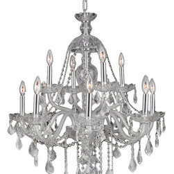 Worldwide Lighting - Provence Collection 12 Light Chrome Finish Crystal Chandelier Two 2 Tier - This stunning 12-light Crystal Chandelier only uses the best quality material and workmanship ensuring a beautiful heirloom quality piece. Featuring a radiant chrome finish and finely cut premium grade clear crystals with a lead content of 30%, this elegant chandelier will give any room sparkle and glamour. Worldwide Lighting Corporation is a privately owned manufacturer of high quality crystal chandeliers, pendants, surface mounts, sconces and custom decorative lighting products for the residential, hospitality and commercial building markets. Our high quality crystals meet all standards of perfection, possessing lead oxide of 30% that is above industry standards and can be seen in prestigious homes, hotels, restaurants, casinos, and churches across the country. Our mission is to enhance your lighting needs with exceptional quality fixtures at a reasonable price.