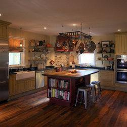 Custom milled at Excelsior Wood Products, LLC - Mink Hollow - Reclaimed Oak Wood Floor & Custom Kitchen Island - Reclaimed Oak Flooring