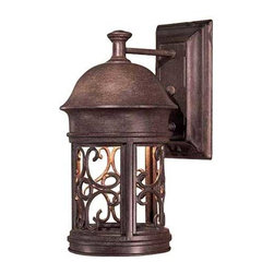 Minka Lighting - 12-3/4-Inch Outdoor Wall Light - 8281-A61 - This outdoor wall light adds a classic touch of elegance where it's most needed, the exterior of the home. Simple scroll details create a romantic style and the rust finish goes well with most decor. This wall light is a simple way to dress-up a garage, deck or entryway. Takes (1) 60-watt incandescent A19 bulb(s). Bulb(s) sold separately. Wet location rated.