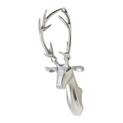 Rennes Wall Reindeer Sculpture, Nickel - Small Wall Reindeer Sculpture RENNES in Silver Nickel. A great addition to your wall.
