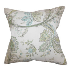 """The Pillow Collection - Dilys Floral Pillow Green 18"""" x 18"""" - With an interesting detail, this gorgeous accent pillow will create a great indoor style. This throw pillow features a lovely floral pattern in shades of green, blue and white. Make this toss pillow the centerpiece of your sofa, bed or couch for extra comfort and dimension. Constructed with a blend of materials: 45% linen and 55% cotton. Hidden zipper closure for easy cover removal.  Knife edge finish on all four sides.  Reversible pillow with the same fabric on the back side.  Spot cleaning suggested."""