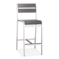 None - Megapolis Grey Brushed Aluminum Bar Chair - This modern bar chair features a counter-height construction of 44.1-inches high,with a solid aluminum construction and brushed aluminum finish. Lend a contemporary look to your outdoor space with this water-resistant bar chair.