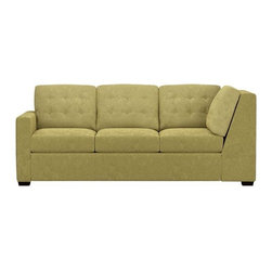 Allerton Right Arm Sectional Corner Sofa - Allerton plays off mid-century tradition with bold squared-off lines, clean track arms and a button tufted back. Seat and back cushions easily lift off with new snug fit foam roll attachments. Hardwood legs are finished a dark walnut. Pairs with Left Arm Queen Sleeper to create a sectional.