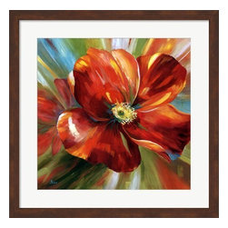 Framed Island Blossom I by Nan - Orange Flower - Pecan Brown Frame - Cheerful tropical prints with orange and blue as dominant colors.