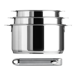 Cristel - Cristel Casteline Multiply 5-Ply Stainless 3-Piece Sauce Pan Set with Handle - The base is made out of 5-ply alloy of stainless steel and aluminum. The heat is simultaneously spread over the whole surface of the base and sides. For gentle, economic cooking with no risk of sticking and protecting all the nutritional qualities of food. Multicooking: suitable for all cooking cooktops; can also be placed on the oven (with or without the lid)Simplicity: In one easy gesture the handle goes from the saucepan to the pan, the frying pan and on lids with automatic locking. Compact Storage: Parts can be fully nested inside one another thereby saving space and masking easier for dishwasher loadingSafety: the removable automatic locking handle ensures dual safety. With no projecting handle the cooking space is made safe meaning there is no risk of children's hands or aprons catching on it. Inside grading. Polished Finish. Assort handle colors and finishes are available. Excalibur PFOA free Non Stick interior. Dishwasher safe.. Included: Glass lid, Pot and Casteline Long Removable Handle. Made in France.