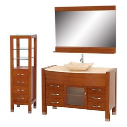 "Modern Bathroom - Daytona 55"" Bathroom Vanity Set - Cherry Finish w/ Drawers & Cabinet - Absolutely exclusive to Modern Bathroom, the Daytona 55"" Bathroom Vanity Set in Cherry is unique in contemporary bathroom vanities and will make a strong statement in your bathroom. This beautiful bathroom vanity comes complete with mirror and cabinet. Its solid marble counter shows off the glamour and modern design of this vanity, and will transform your bathroom into a contemporary masterpiece. This is a Modern Bathroom original design, and is therefore only available in very limited numbers. Incredibly, this price is for the complete set - Vanity, mirror, and cabinet included, and FREE SHIPPING! All counters are pre-drilled for a single-hole faucet, but are also available for a 3-hole faucet by request, at no additional charge. Available in additional sizes, finishes and counter options. Features Constructed of solid, environmentally friendly, zero emissions wood, engineered to prevent warping and last a lifetime Includes single-hole faucet mount Includes drain assembly and P-Trap Includes mirror and side cabinet Please note that backsplashes MUST be ordered at the same time as the vanity and counter. They cannot be shipped as separate items.--> How to handle your counterSpec Sheet for vanity and mirror Spec Sheet for WC-K-W045 Spec Sheet Dimensions   Width Depth Shelf Depth Height Height to counter Height to Bone Porcelain Sink Height to Ivory Marble Sink Vanity 54-3/4 22     33.5 38 38.5 Mirror 48   5 33-3/4       Cabinet 16 1/4 16   59 1/2       Natural stone like marble and granite, while otherwise durable, are vulnerable to staining from hair dye, ink, tea, coffee, oily materials such as hand cream or milk, and can be etched by acidic substances such as alcohol and soft drinks. Please protect your countertop and/or sink by avoiding contact with these substances. For more information, please review our ""Marble & Granite Care"" guide."