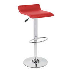 "Lumisource - Ale Bar Stool Red - A gentle wave in the upholstered white leatherette seat of the Ale bar stool creates a sleek comfort. Polished chrome pole, base, and footrest. Adjustable height hydraulics allows you to position the seat height anywhere from 21"" to 30"" inches. With the White Ale bar stool you get comfort and elegance at a great value!"